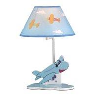 lampes de table bleu achat en gros de-OOVOV Enfant Dessin Animé Bleu Avion Bureau Lampes Creative Garçon Fille Chambre Bureau Lampe Bébé Chambre Table Lumière