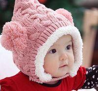 tığ bebeği ayı şapkası toptan satış-Tığ bere erkek bebek kız çocuk kap kış ayı için Sevimli Kulaklar kapaklar bebek Noel sıcak şapka peluş şapka BH147
