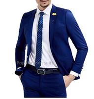 платья для мальчиков оптовых-Hot sale new royal blue one button groom men suit dress Peaked lapel formal wedding dress business prom suits(coat+pants+Vest)