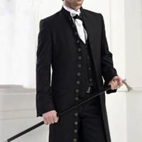 ingrosso migliori stand-2017 Stand Collar Abiti da uomo con molti bottoni 2 pezzi Smoking nero da sposo sposo Best Man Suit Blazer con pantaloni (Coat + Pants + Vest)