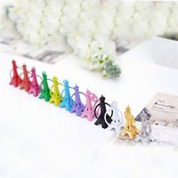 Wholesale eiffel tower candy - Mini Retro Eiffel Tower Design Key Ring Candy Color Popular Keychain 5cm Height Metal Cute Keys Buckle For Men Women 0 59ky Z
