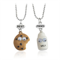 Wholesale Cookie Girl - Bulk Lots 22mm 25mm BBF Milk Cookies Pendants Child Girls Boys Chokers with 41+7cm Chain Best Friends Duds Resin Cartoon Necklaces 2pcs lot