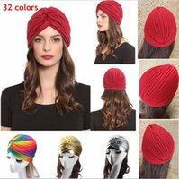hint tarzı şapkalar toptan satış-Kadın Unisex Hint Tarzı Gerilebilir Türban Şapka Saç Baş Wrap Cap Headwrap Cloche Beanie Arap Bandanalar 500 adet AAA853