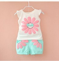 Wholesale newborn clothes for girls - Detail 2018 Summer Newborn Infant Baby Girls Clothes Casual Sports Brand Printed Tracksuits For Baby Girls Clothing Outfits Sets