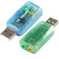 звуковая карта канала usb оптовых-Микрофон динамик USB 3D Звуковая карта аудио адаптер виртуальный 5.1-канальный для ПК или ноутбука сабвуфер