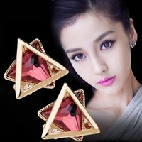Wholesale Long Earring For Ears - Hot Fashion 925 sterling silver ear pin Vintage Long triangle Earring Big Geometric Stud Earrings For Women Classic Gold-Color Fine Jewelry