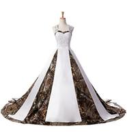 camo perlen groihandel-2018 Heißer Verkauf Auf Lager Camouflage Brautkleider Perlen Lace Up Camo Hochzeit Kleid Brautkleider 2-16 Q02
