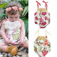 d768ae11f455 INS Baby Girls Romper Floral Printed Tassel Suspender Newborn Onesie Summer  Flower Infant Bodysuit Girl Jumpsuit B11