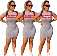 Wholesale stretch bodycon dresses - Super Print Letter Summer Women Short Sleeved Mini Dress Trendy Sexy Club Skirts Stretch Soft Girl One-Piece Dress Long T-shirts Pure Color