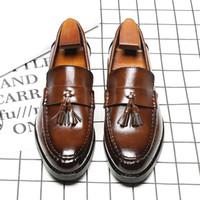 ingrosso scarpe da ginnastica in acciaio inghilterra-Traspirante marrone / nero versione coreana della nuova moda punta a punta Inghilterra mocassini Mens Business Dress Shoes con nappa