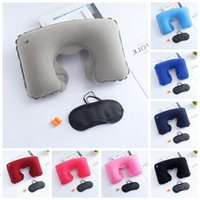 Wholesale red neck pillow - 3 Pcs U Shape Pillow Eyepatch Earplug Set Portable Inflatable Travel Pillow Neck Support Head Rest Airplane Car Cushion NNA401