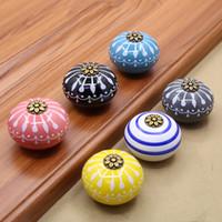 Wholesale 6 Styles Home Decor Hand Painted Ceramic Door Pull Drawer Handles Furniture Antique Shell Knob Tiradores De Cajón Kitchen Accessories