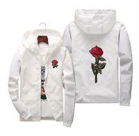 chaqueta de impresión rosa al por mayor-Rosa roja impresa chaquetas casuales hombres mujeres con capucha rompevientos mujer color sólido bordado abrigos tamaño asiático S-7XL