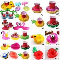 Wholesale swimming mattress - Inflatable Cup Float Flamingo Cup Holder Coasters Inflatable Drink Holder for Swimming Pool Air Mattresses for Cup Party SuppliesI175