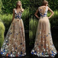 Wholesale Organza Butterflies Purple - Butterfly And Flower Prom Dresses 2018 Sheer Neck Sleeveless Long Evening Gowns Back Covered Buttons Arabic Formal Party Dress Custom Made