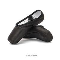 siyah saten dans pabucu toptan satış-Sansha Bale Pointe Ayakkabı Ile Saten Üst Şerit Kızlar Kadınlar Profesyonel Dans Ayak Ayakkabı Jel Silikon Ayak Pedleri ile SP1.8 Siyah