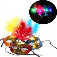 Wholesale half face gold party masks for sale - Group buy Luminous LED Feather Mask Female Masquerade Costume Party Colorful Gold Powder Princess mask Halloween party favor decor props FFA780