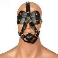 Wholesale leather gagged - Fetish Leather Blindfolded Hood Mask Sexy Bondage Restraints Erotic Head Harness Eyeshade Ball Gag Slave Mask Sex Toys For Cuple