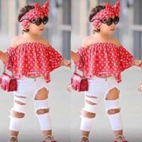 kız kot pantolon toptan satış-3 adet Suit Kız Elbise Yaz Bebek Kapalı Omuz Tops + Kot + Kafa Giyim Seti 2 3 4 5 6 7 Yıl Için BB430 robe
