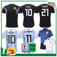 Wholesale polo football for sale - 2018 World Cup Argentina away Jersey Argentina MESSI DYBALA DI MARIA AGUERO HIGUAIN soccer shirt home national team POLO Football jersey