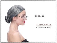 Wholesale wholesales dresses prom night - The old lady dressing up Wig Environmental PET Hair Prom props Old granny wigs Headgear For Night Club Cosplay Masquerade Party