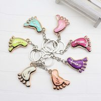 Wholesale giveaways for baby shower for sale - Group buy Cute Mini Foot Shaped Keychain Love Key Ring for Baby Shower Baptism Gifts Giveaway Souvenirs wen6944