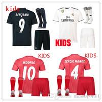 jerseys de fútbol niños al por mayor-18/19 Camiseta de fútbol del Real Madrid KIDS KITS 2018-2019 Camiseta de fútbolS RONALDO Asensio SERGIO MODRIC RAMOS MARCELO BALE ISCO Juegos de fútbol para niños
