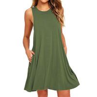 Wholesale shift dress wholesale - 2018 Summer Dress Women Plus Szie Dress Sleeveless Boho Style Short Beach Dress Sundress Casual Shift Dresses Vestidos
