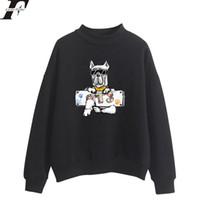 Wholesale Kpop Anime - LUCKYFRIDAYF 2018 BTS DOG New Design Kpop Oversize Turtlenecks Hoodies Sweatshirts Women Hoodies Loose Anime Casual Sweatshirts