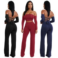Wholesale ladies summer clothes sale - New Style Fashion Jumpsuits Long Sleeve Women Summer Shirt Sexy Tie Women's Two Piece Pants 6 Color Hot Sale Lady Clothing Bodycon Dresses