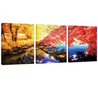 schöne wohnkultur bilder großhandel-3 Panels Herbst Maples Wald und schönen See Landschaft Bild Wandkunst Leinwand Malerei Kunstwerke für Wohnkultur Holzrahmen zu hängen