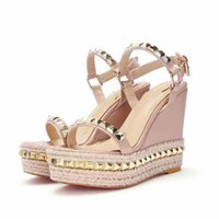 Wholesale open wedge shoes - Women Sandals New 2018 real leather rivets Gladiator Sandals high qaulity designer ankle strape sandals shoes EU35~40 option Waterproof plat