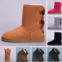Wholesale borders australia for sale - Button WGG winter Australia Classic snow Boots fashion UGS tall shoes real leather Bailey Bowknot women bow Knee Boots men shoes sneakers