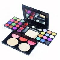 precio kit de maquillaje de ojos al por mayor-ADS Kit de Maquillaje Paleta de Sombras de Ojos Rubor Brillo de Labios Polvo Facial 4 en 1 con Cepillos Cosméticos Set Mejor Precio