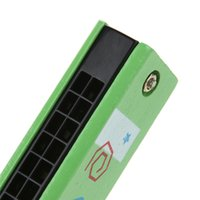 harmonica de jouet en plastique achat en gros de-Bébé enfants bois et plastique Harmonica Musicl jouet éducatif cadeau couleur aléatoire