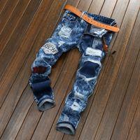 insignes en tissu achat en gros de-Badge jeans hommes droit européen et américain hommes jeans trou patch tissu flocon de neige hommes pantalon livraison gratuite