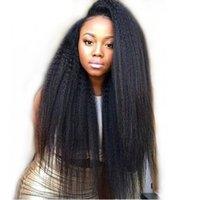 ingrosso yaki vendita dei capelli umani-Vendita calda peruviana pizzo anteriore parrucche dei capelli umani parrucca diritta del merletto glueless parrucche piene del merletto dei capelli umani per le donne nere