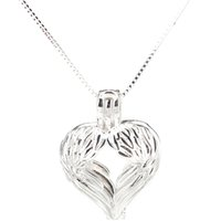 Wholesale sterling feather pendant resale online - 925 Sterling Silver Pick a Pearl Cage Feather Wing Heart Beauty Locket Pendant Necklace Boutique Lady Gift K988