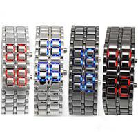montres à led de lave achat en gros de-Samurai de fer de métal de montre de style de lave des femmes des hommes des montres de l'électronique montre le bracelet sans visage les montres-bracelet d'acier inoxydable