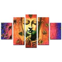 ingrosso pannello buddha art-5 pannelli di olio stampa artistica Wall Art Buddha con cornice in legno per la decorazione domestica pronta per essere appesa