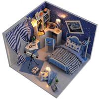 Wholesale Christmas House Model - Dollhouse Miniature DIY Wood Doll House Kits Lifelike Assembling 3D Doll Houses Handmade Model Toys for Kids Christmas Gifts