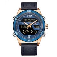 manecillas del reloj analógico al por mayor-Zona horaria dual Horario de mano Reloj digital con doble pantalla Correa de cuero Hora luminosa Reloj de mano Casual de negocios Reloj analógico masculino