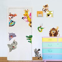Wholesale Forest Animals wall stickers For kids rooms diy wall decals lion elephant giraffee monkey horse mural art posters