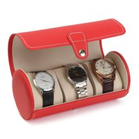 Wholesale necklaces storage - 3 Slots Watch Display Gift Boxes Necklace Bracelet Travel Case PU Leather Roll Box Collector Organizer Jewelry Storage Red Color