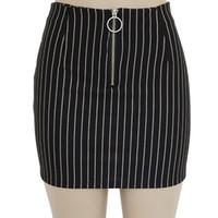 kalem etek çizgileri toptan satış-Sıcak Yaz Kadın Şerit Kalem Etekler Balo Streetwear Kadınlar Seksi Kısa Etek Moda Yüksek Bel Etek Büyük Boy Beyaz Siyah Etekler