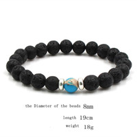 Wholesale acrylic hand bracelet resale online - 10 colors Natural Black Lava Stone Beads Elastic Bracelet Essential Oil Diffuser Bracelet Volcanic Rock Beaded Hand Strings