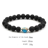 strings armband großhandel-10 Farben natürliche schwarze Lava Stein Perlen elastische Armband ätherisches Öl Diffusor Armband vulkanischen Rock Perlen Hand Strings