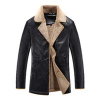 Wholesale Mens Thick Lined Winter Coat - Wholesale- New Men Faux Leather Jacket Coat Fashion British Style Thick Warm Fleece Lined Quality PU Outerwear Slim Mens Winter Jackets