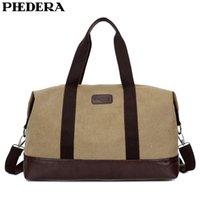 bolso de hombro caqui de los hombres al por mayor-PHEDERA Nueva Gran Capacidad Lona Viajes Duffle Bags Casual Hombres Bolsa de Equipaje Exterior Khaki Black Shoulder Bags