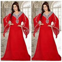 robes de mode arabe pour les femmes achat en gros de-Mode Plus La Taille Perles Cristal Robes De Soirée Plus La Taille En Mousseline De Soie Arabe Africain Plus La Taille De Bal Parti Robe Musulman Femmes Robes Tenue de soirée